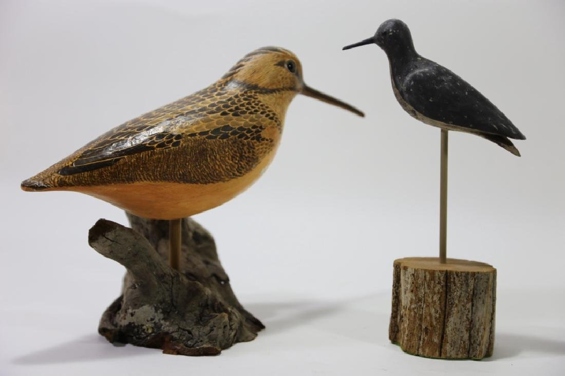 HAND CARVED ARTIST SIGNED SHORE BIRD GROUPING - 4