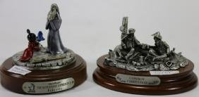 TWO SIGNED PEWTER SCULPTURES