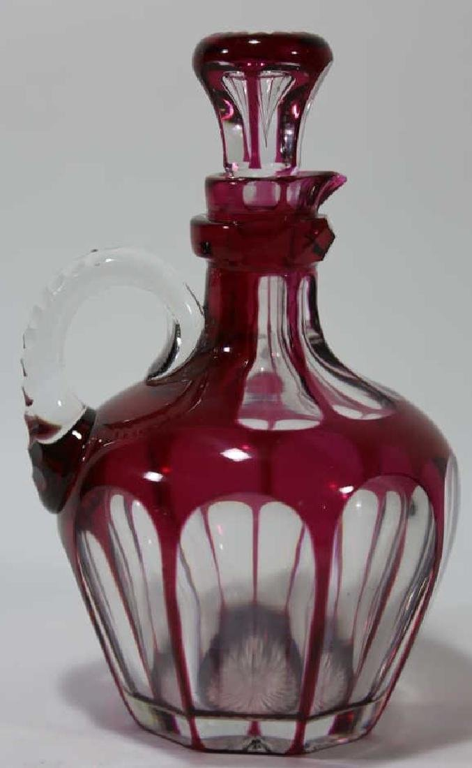 ANTIQUE CRANBERRY TO CLEAR LARGE HANDLED DECANTER