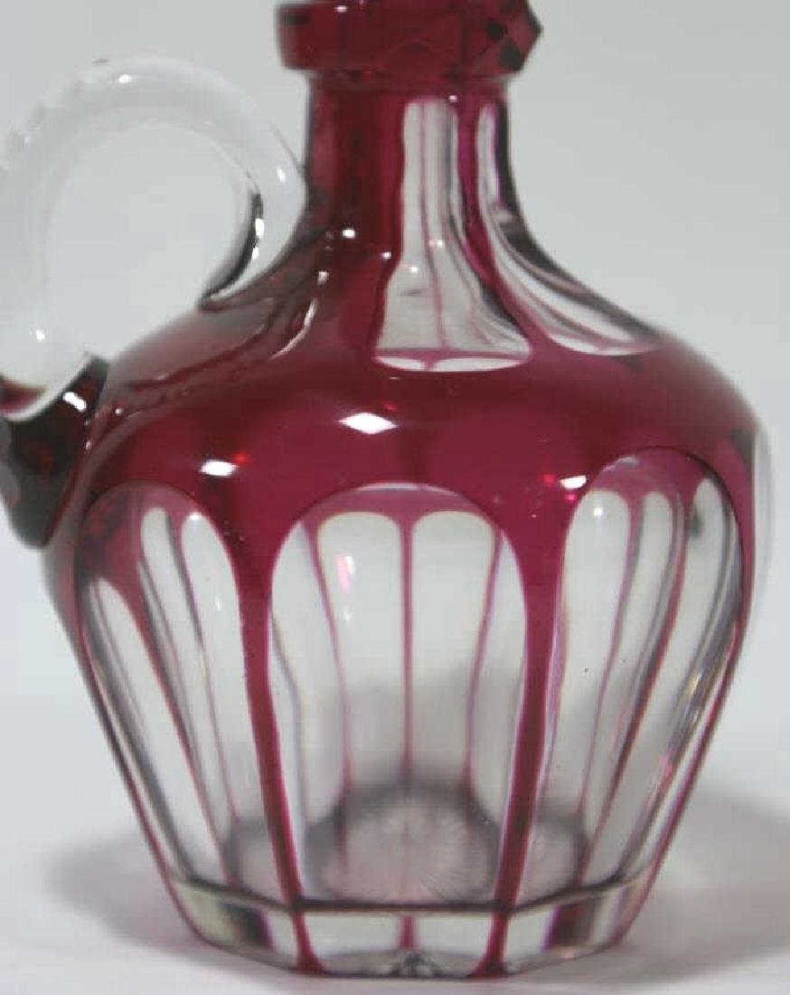 ANTIQUE CRANBERRY TO CLEAR LARGE HANDLED DECANTER - 2