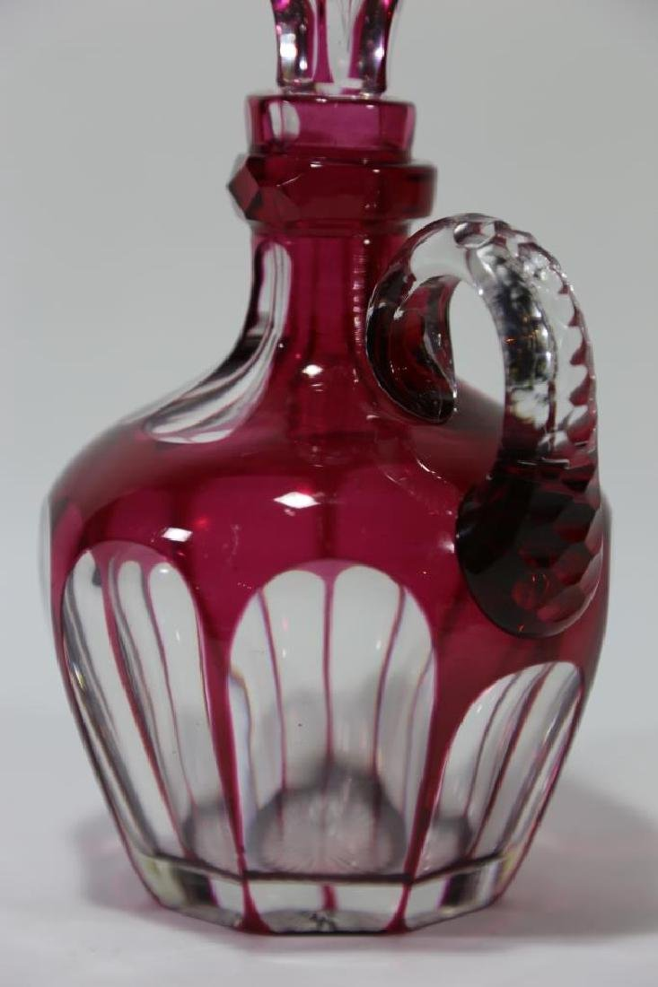 ANTIQUE CRANBERRY TO CLEAR LARGE HANDLED DECANTER - 5