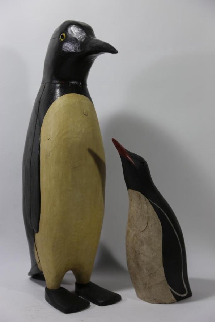 HAND CARVED & PAINTED PENGUINS - 3