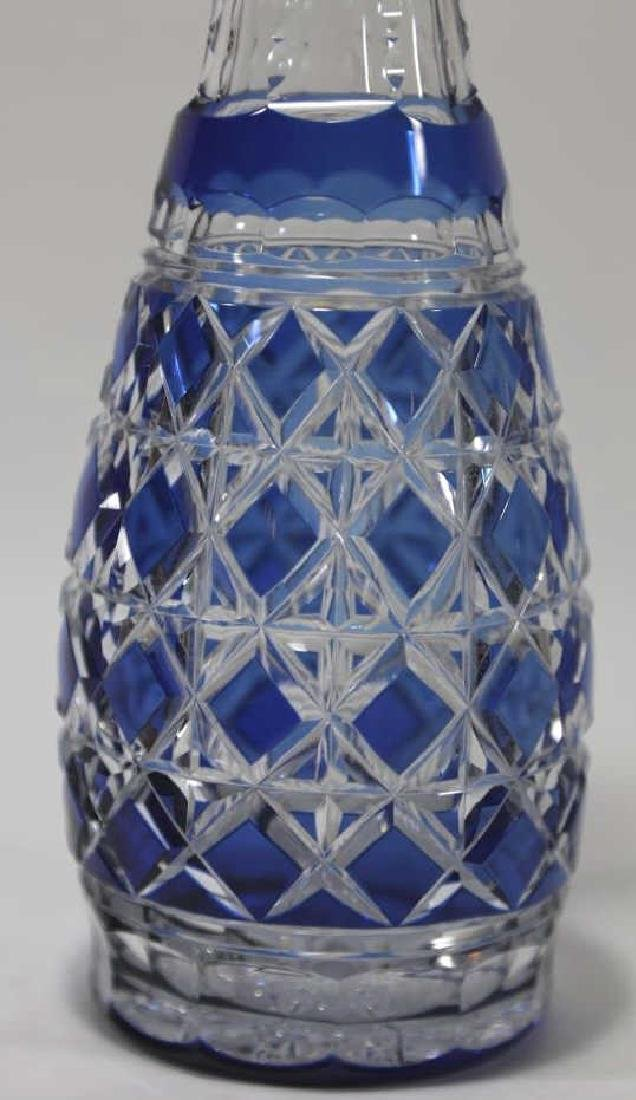 CUT CRYSTAL TALL COBALT TO CLEAR BOHEMIAN DECNATER - 2
