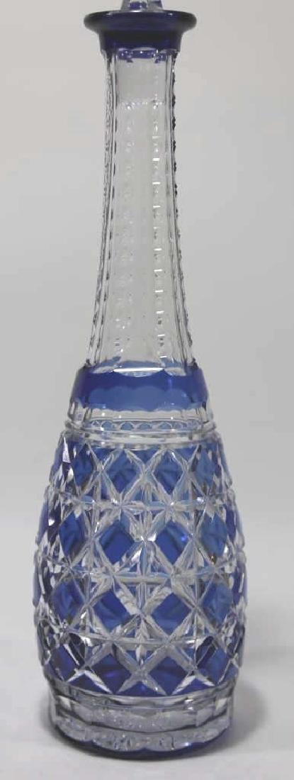 CUT CRYSTAL TALL COBALT TO CLEAR BOHEMIAN DECNATER - 4