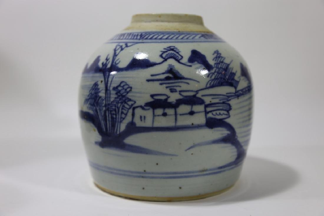 CHINESE ANTIQUE BLUE & WHITE POTTERY JAR - 10