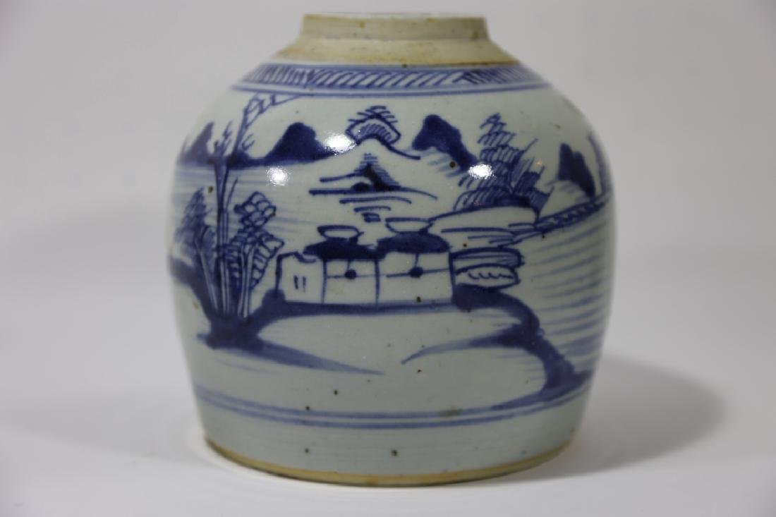 CHINESE ANTIQUE BLUE & WHITE POTTERY JAR