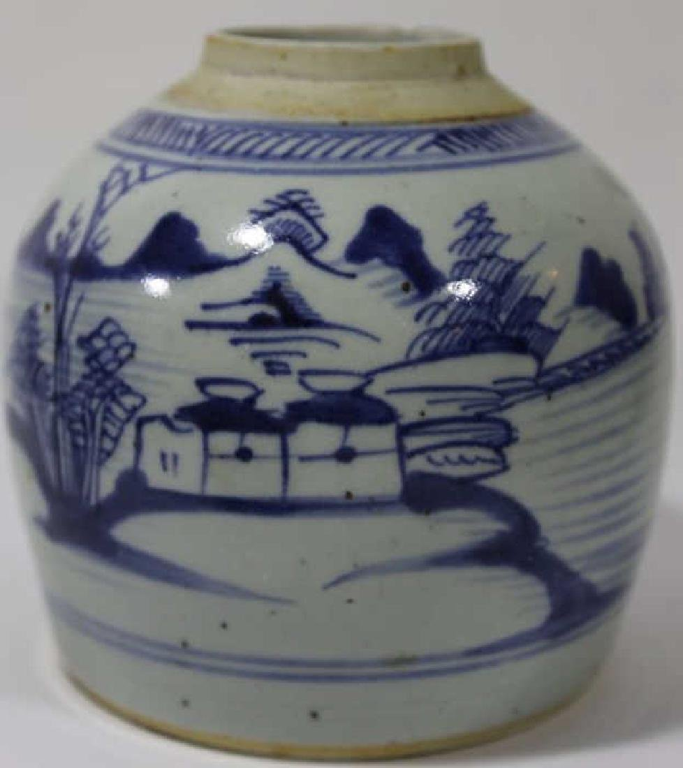 CHINESE ANTIQUE BLUE & WHITE POTTERY JAR - 2