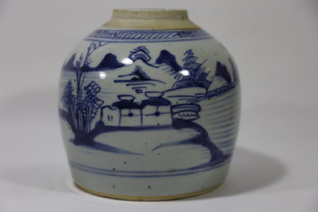 CHINESE ANTIQUE BLUE & WHITE POTTERY JAR - 3