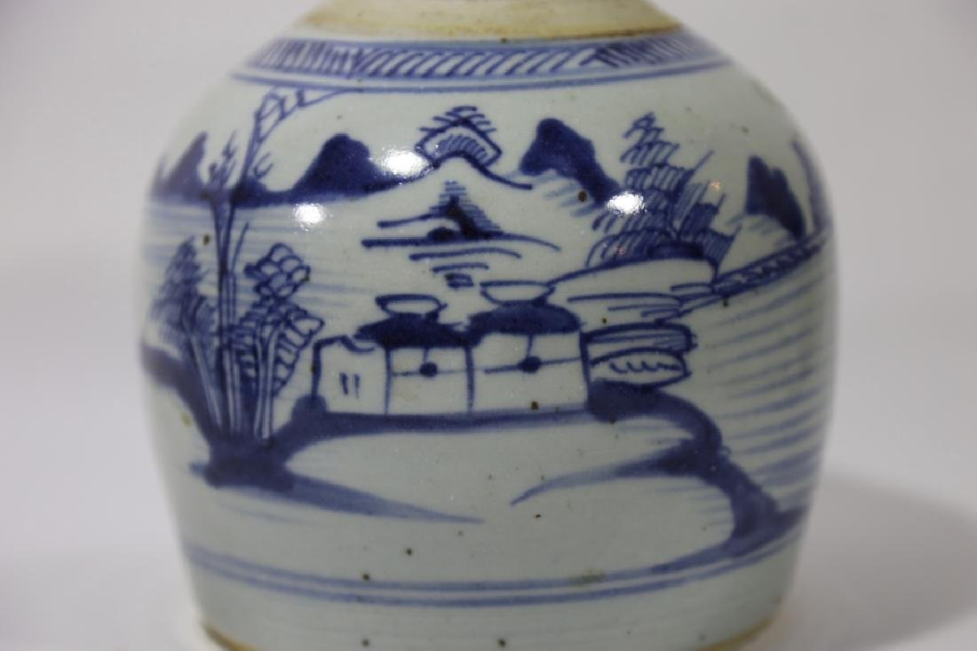 CHINESE ANTIQUE BLUE & WHITE POTTERY JAR - 4