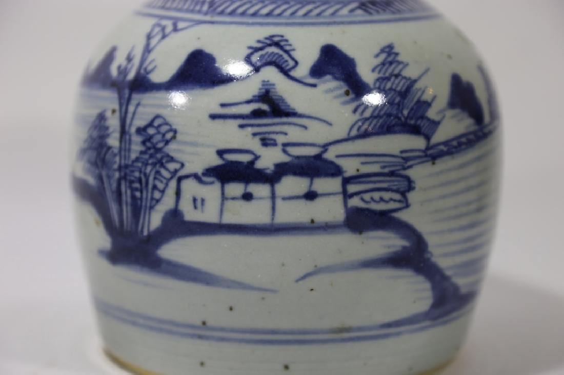 CHINESE ANTIQUE BLUE & WHITE POTTERY JAR - 5