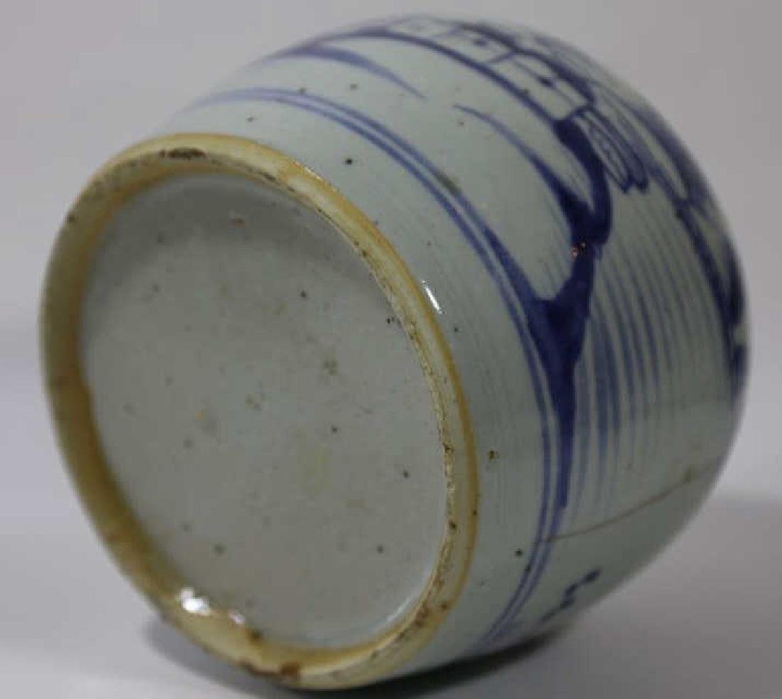 CHINESE ANTIQUE BLUE & WHITE POTTERY JAR - 6