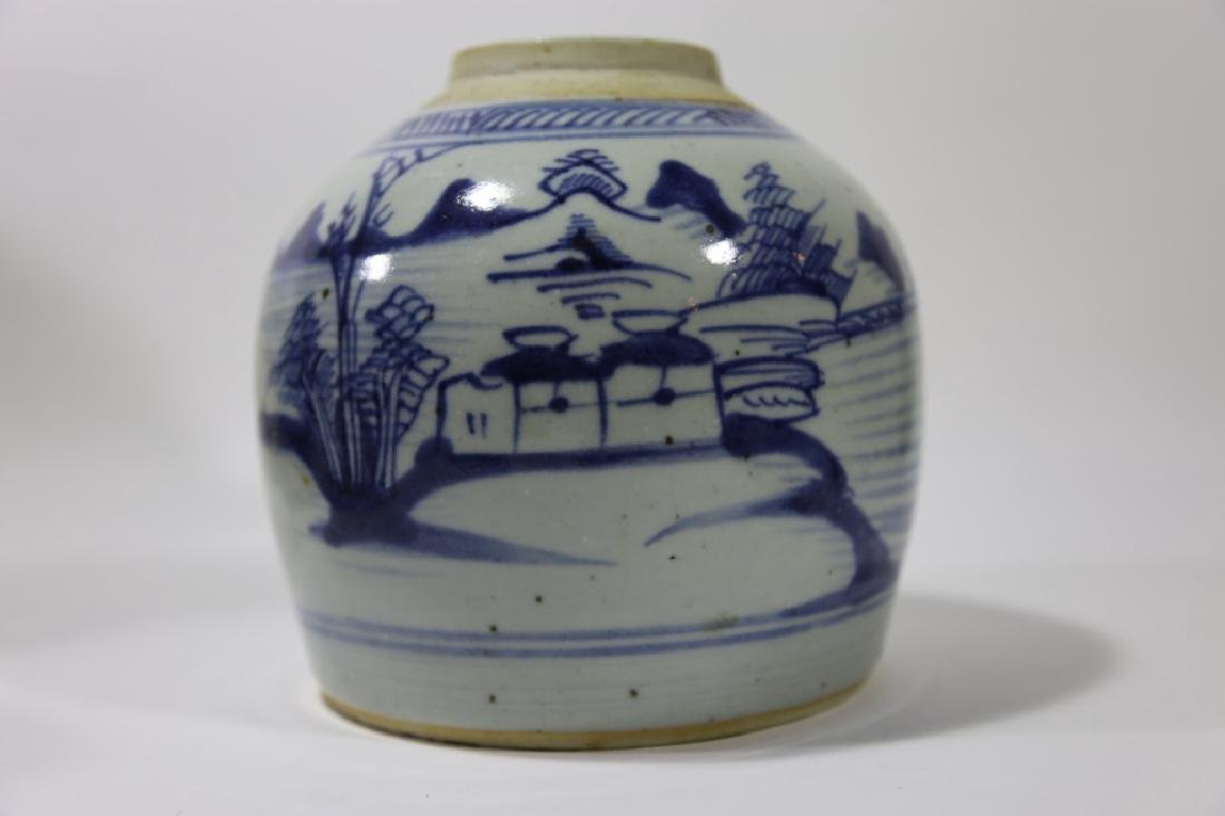 CHINESE ANTIQUE BLUE & WHITE POTTERY JAR - 7