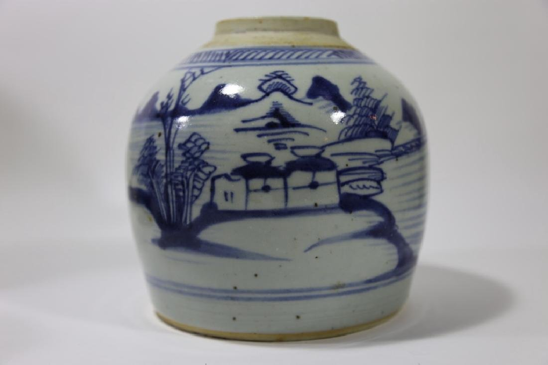 CHINESE ANTIQUE BLUE & WHITE POTTERY JAR - 8