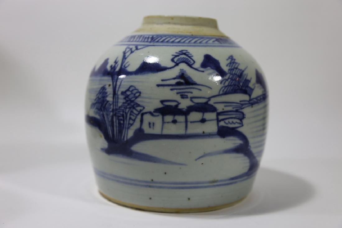 CHINESE ANTIQUE BLUE & WHITE POTTERY JAR - 9