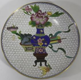 CHINESE ANTIQUE CLOISONNE CHARGER
