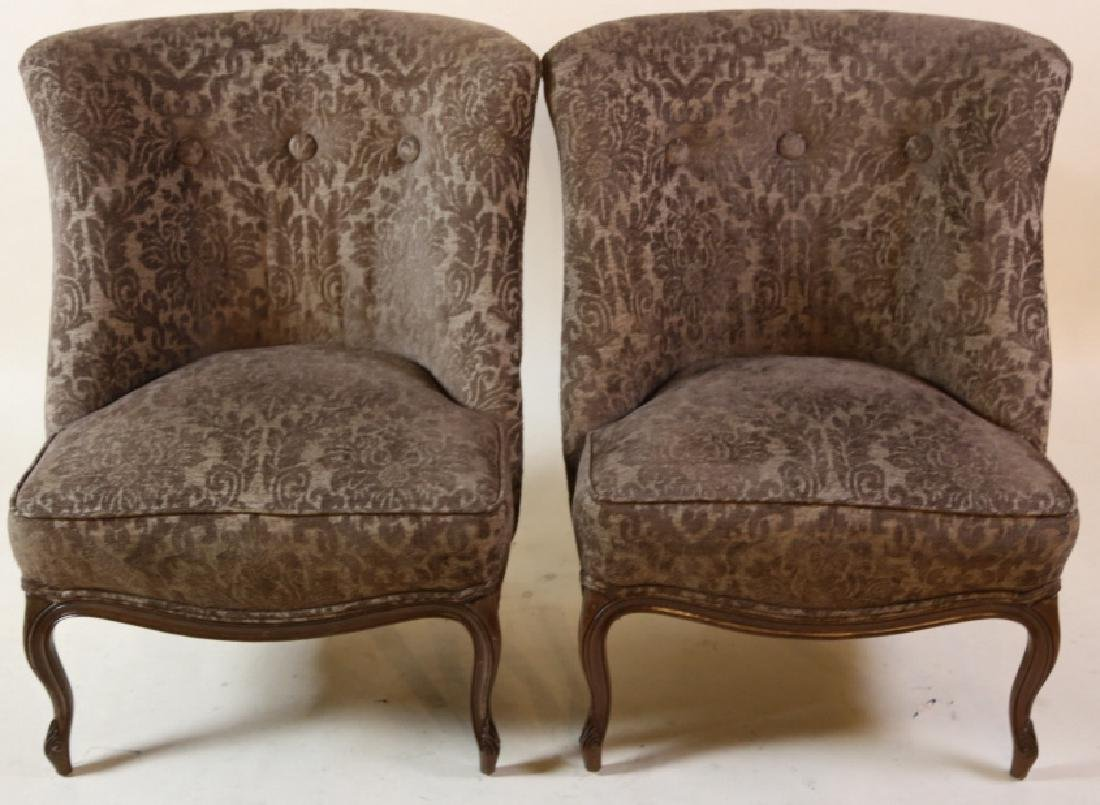 FRENCH SLIPPER CHAIR PAIR WITH CUSTOM UPHOLSTERY - 10