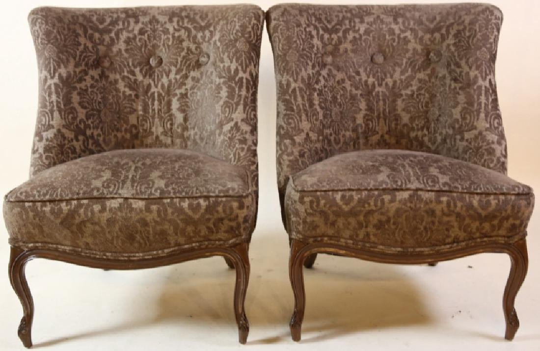 FRENCH SLIPPER CHAIR PAIR WITH CUSTOM UPHOLSTERY