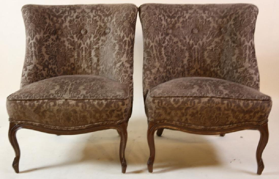 FRENCH SLIPPER CHAIR PAIR WITH CUSTOM UPHOLSTERY - 2