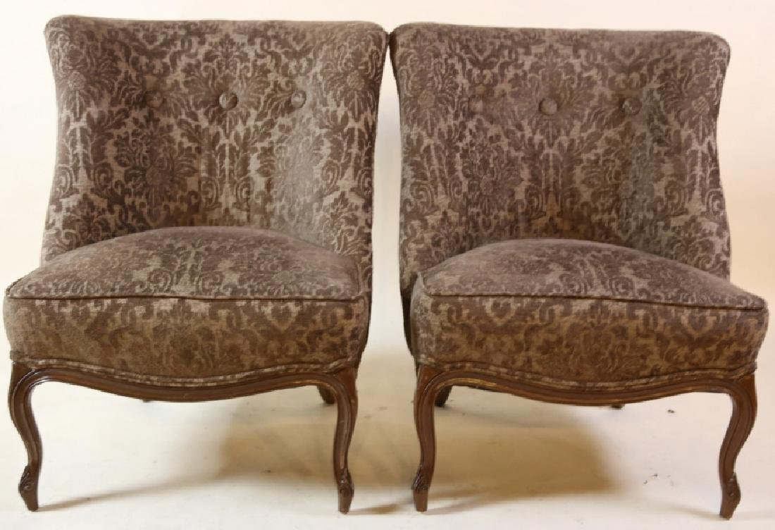 FRENCH SLIPPER CHAIR PAIR WITH CUSTOM UPHOLSTERY - 3