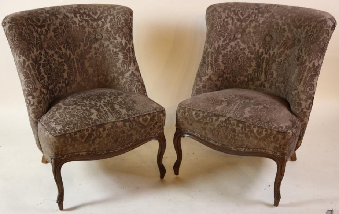 FRENCH SLIPPER CHAIR PAIR WITH CUSTOM UPHOLSTERY - 4
