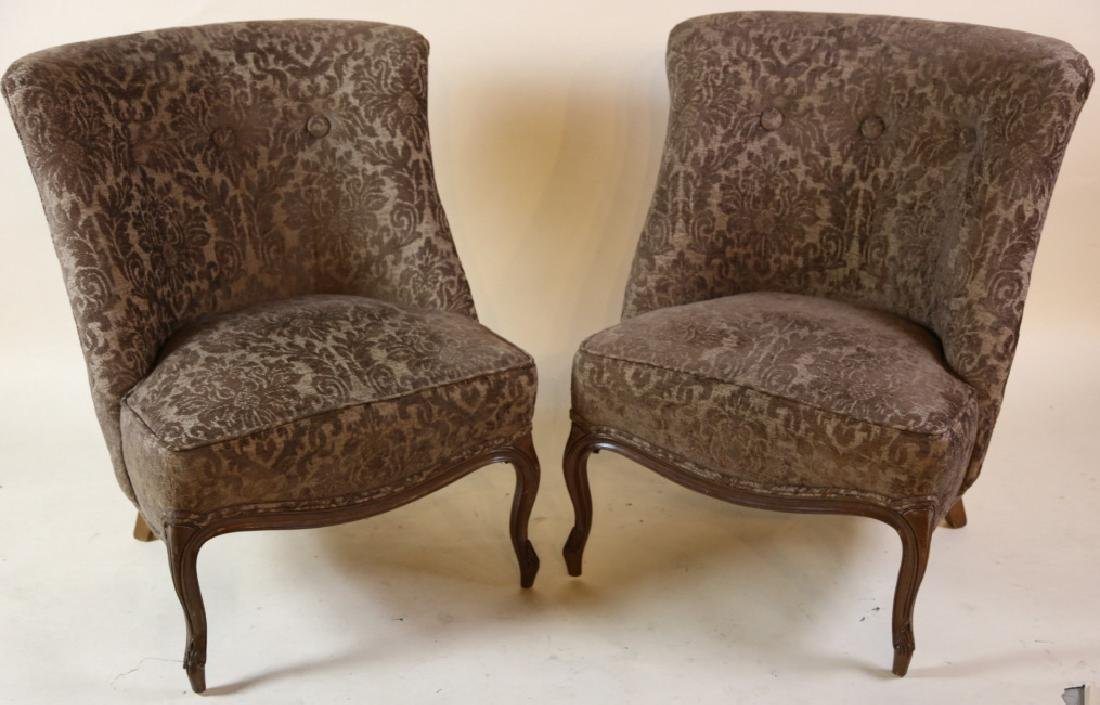 FRENCH SLIPPER CHAIR PAIR WITH CUSTOM UPHOLSTERY - 5