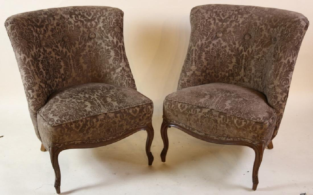 FRENCH SLIPPER CHAIR PAIR WITH CUSTOM UPHOLSTERY - 6