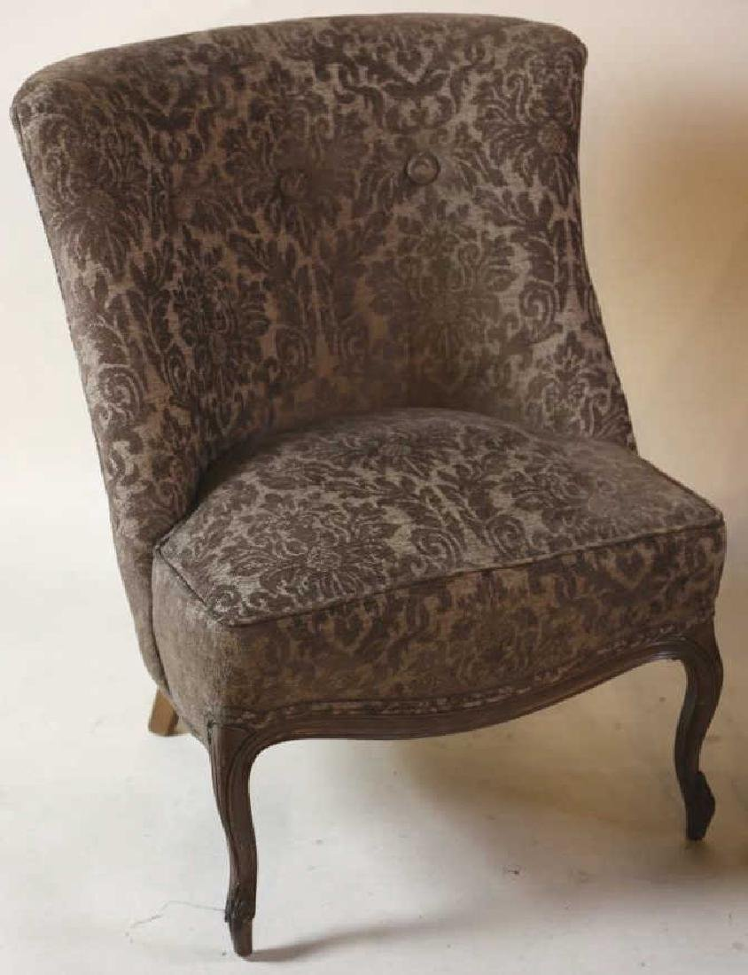 FRENCH SLIPPER CHAIR PAIR WITH CUSTOM UPHOLSTERY - 7