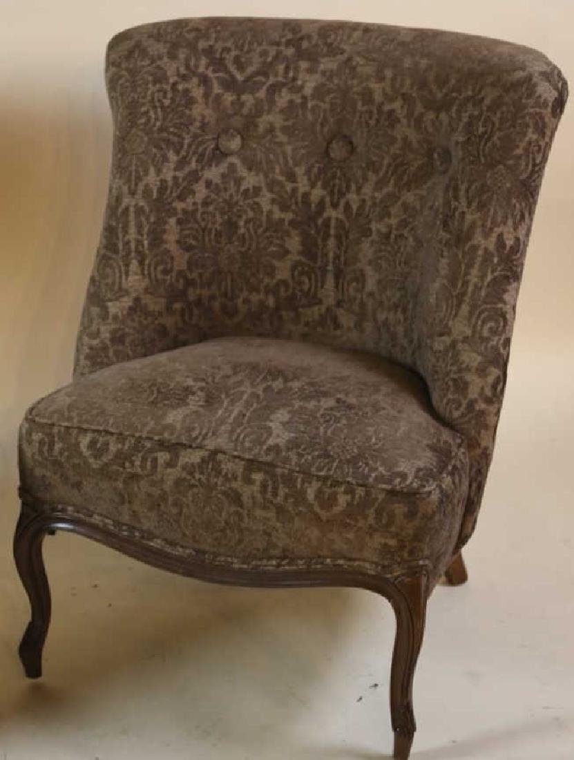 FRENCH SLIPPER CHAIR PAIR WITH CUSTOM UPHOLSTERY - 8