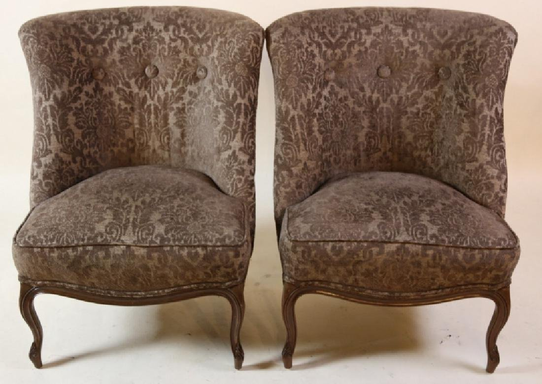 FRENCH SLIPPER CHAIR PAIR WITH CUSTOM UPHOLSTERY - 9