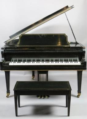EBONIZED BABY GRAND PIANO WITH BENCH