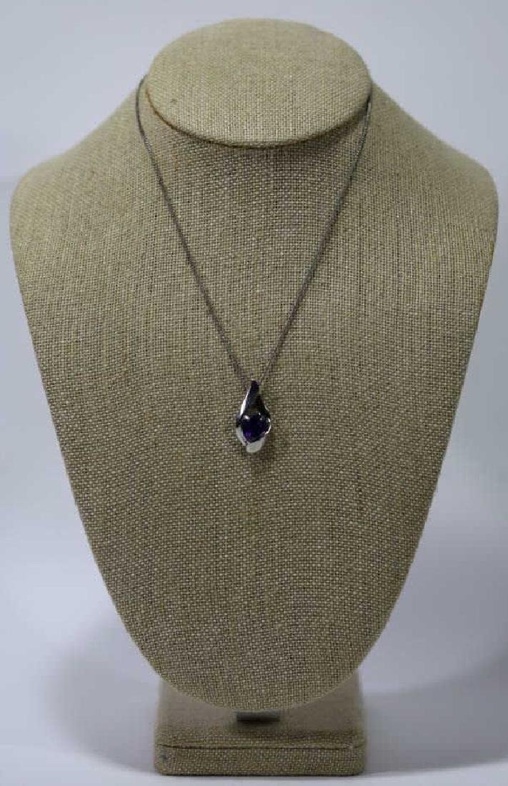 STERLING SILVER & SAPHIRE NECKLACE