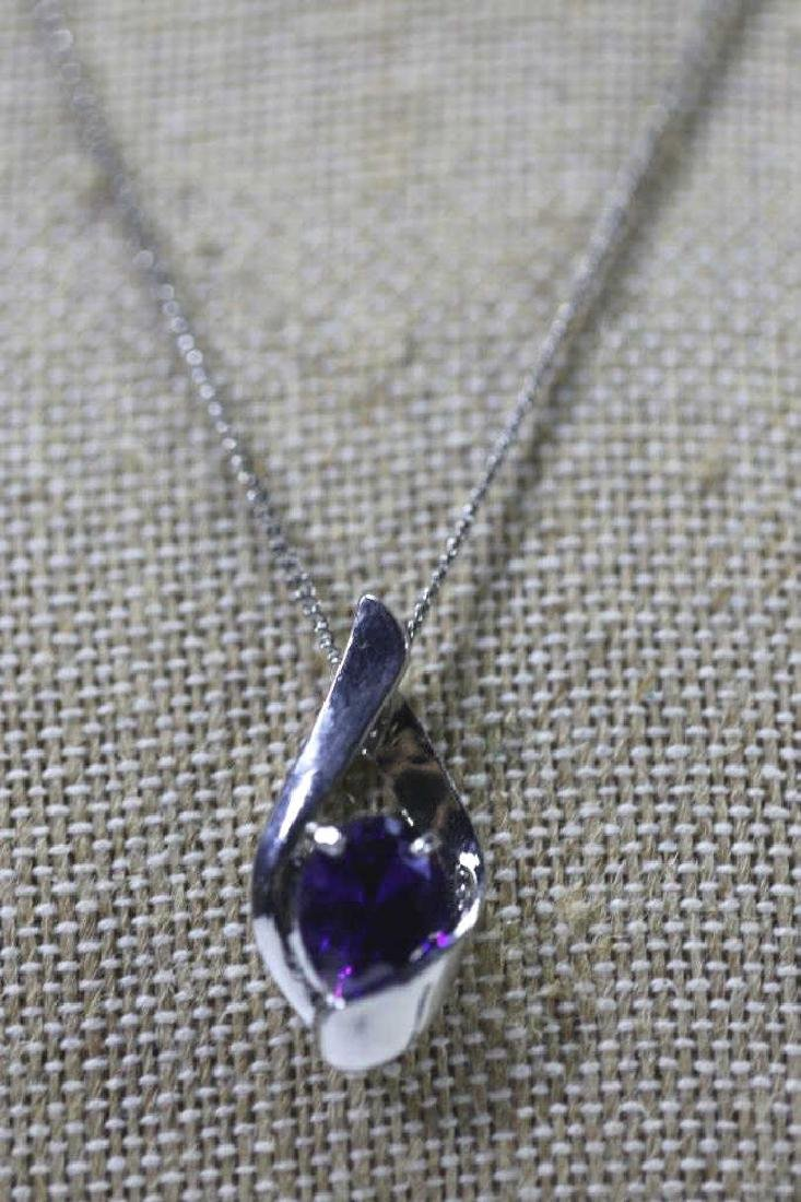 STERLING SILVER & SAPHIRE NECKLACE - 3