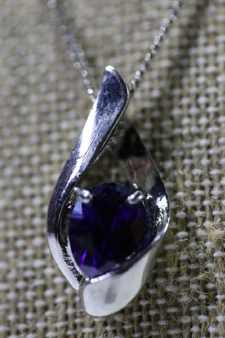 STERLING SILVER & SAPHIRE NECKLACE - 4