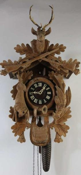 BLACK FOREST HAND CARVED HANGING WALL CLOCK