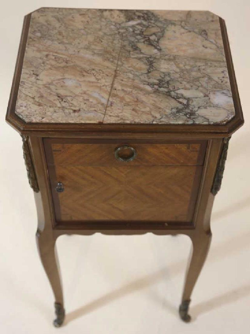 FRENCH ANTIQUE INSET & LINED  MARBLE SIDE TABLES - 10