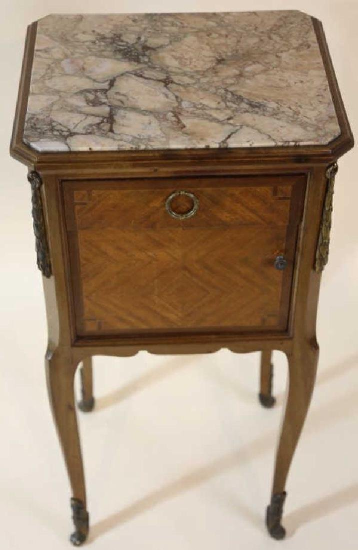 FRENCH ANTIQUE INSET & LINED  MARBLE SIDE TABLES - 2