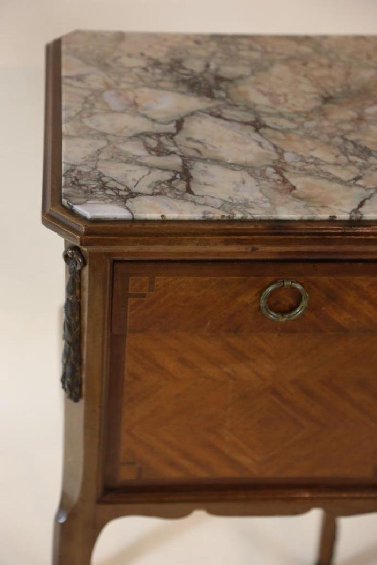 FRENCH ANTIQUE INSET & LINED  MARBLE SIDE TABLES - 5