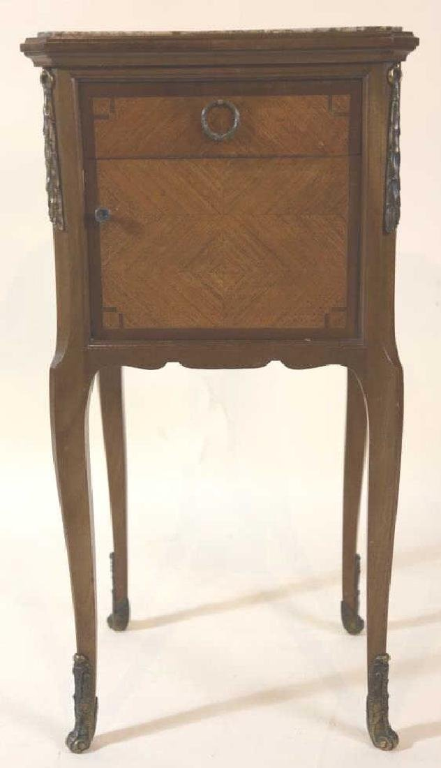 FRENCH ANTIQUE INSET & LINED  MARBLE SIDE TABLES - 7