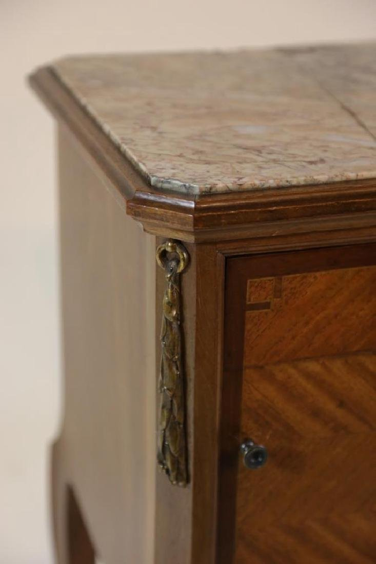 FRENCH ANTIQUE INSET & LINED  MARBLE SIDE TABLES - 8