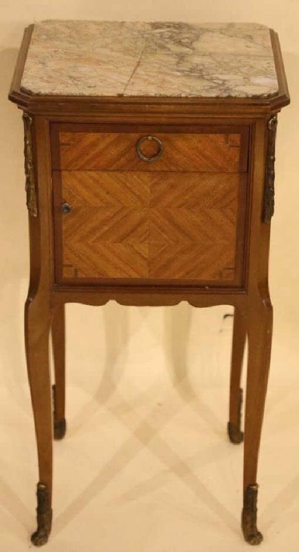 FRENCH ANTIQUE INSET & LINED  MARBLE SIDE TABLES