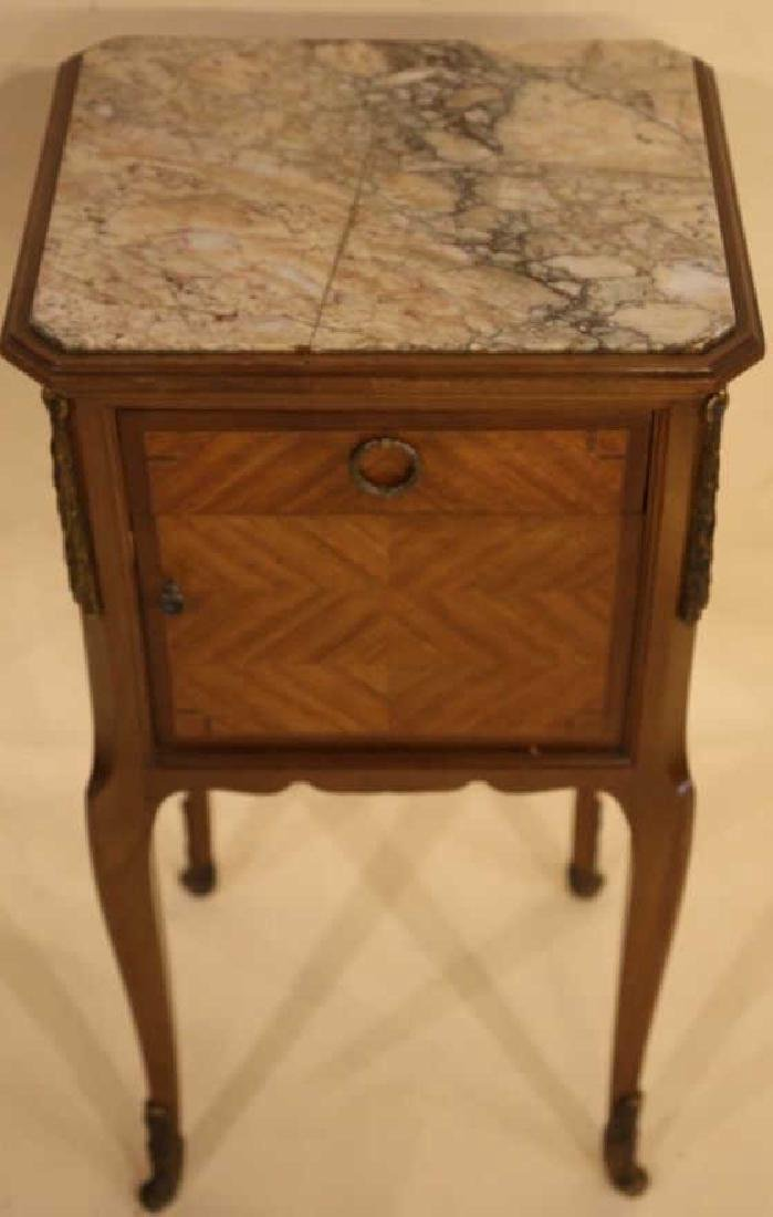 FRENCH ANTIQUE INSET & LINED  MARBLE SIDE TABLES - 3