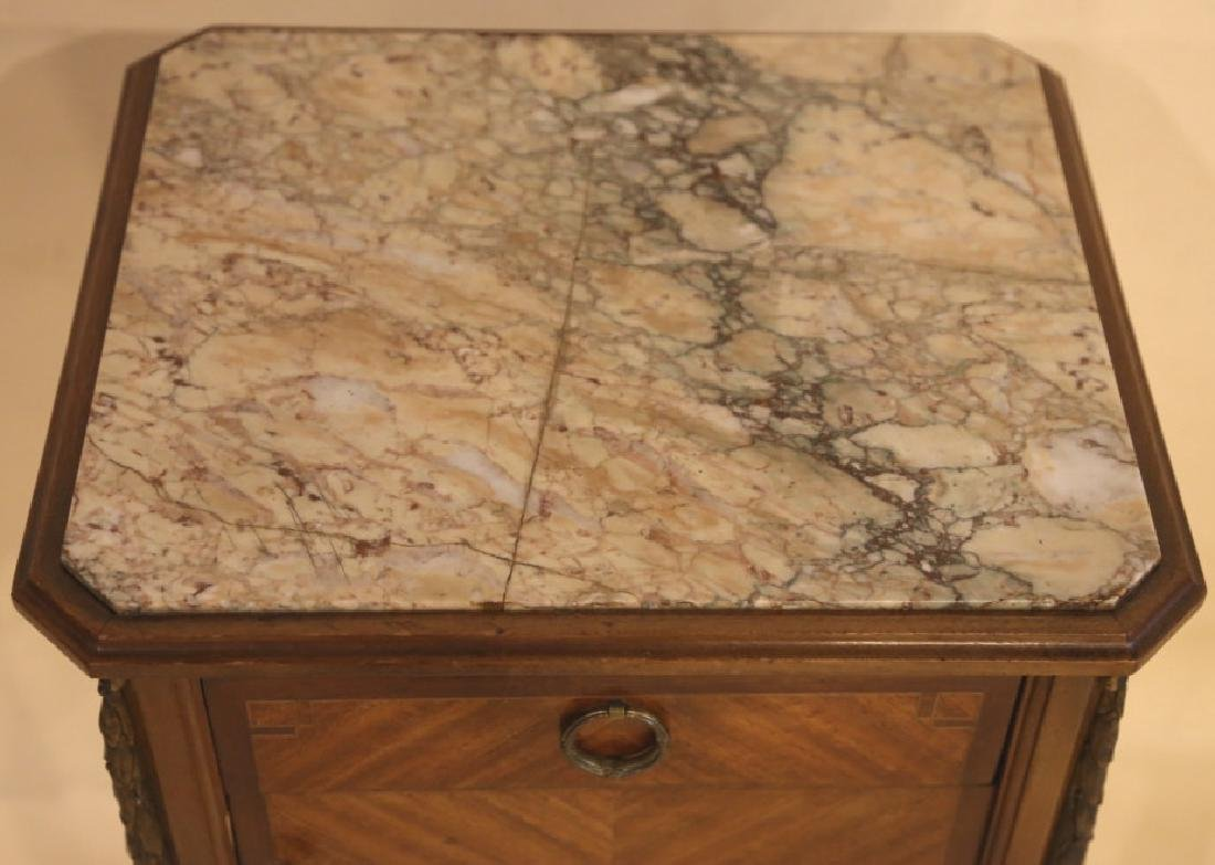FRENCH ANTIQUE INSET & LINED  MARBLE SIDE TABLES - 4