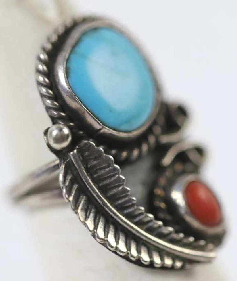 STERLING & TURQUOISE NATIVE AMERICAN RING - 2
