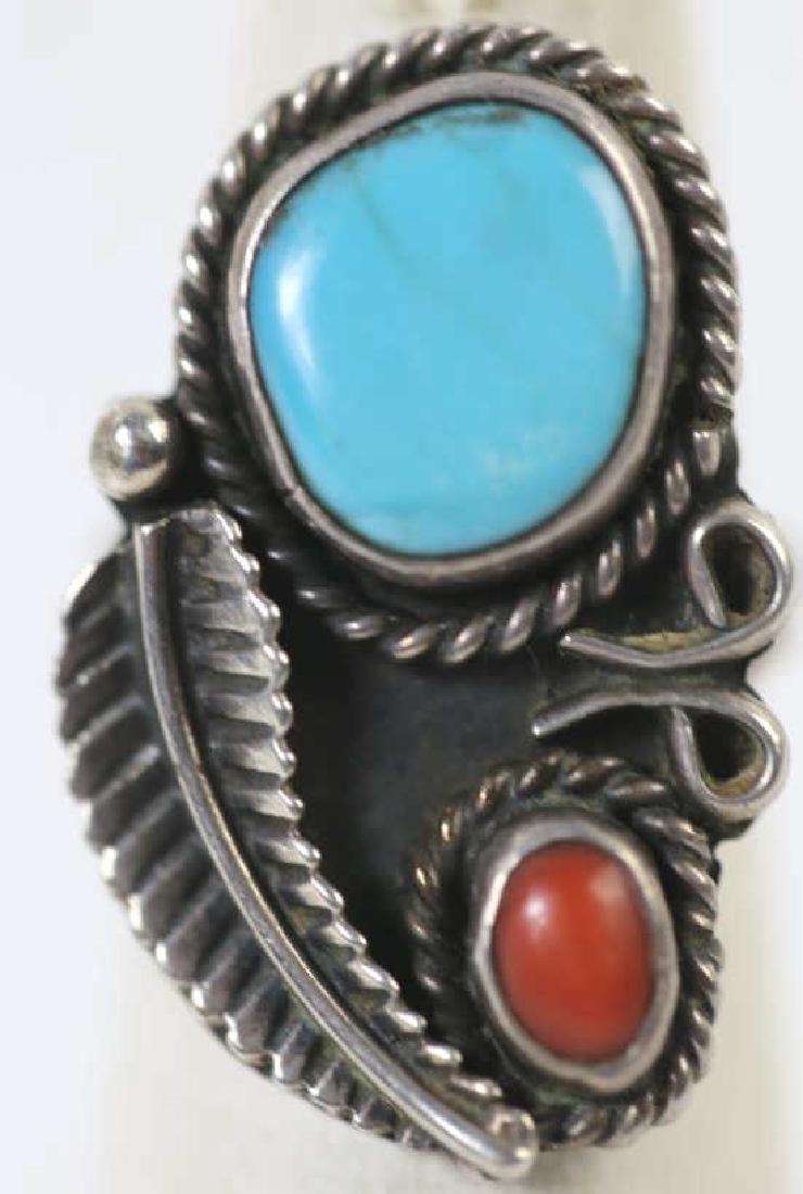 STERLING & TURQUOISE NATIVE AMERICAN RING - 3