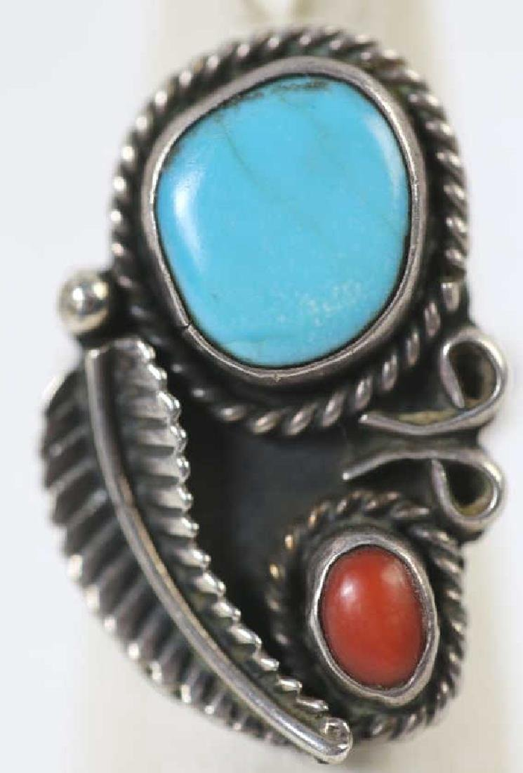 STERLING & TURQUOISE NATIVE AMERICAN RING - 5