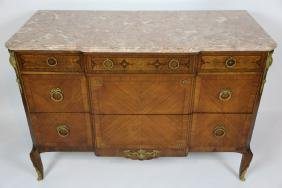 FRENCH MARBLE TOP BRONZE MOUNTED ANTIQUE COMMODE
