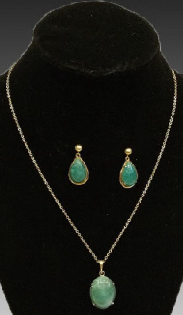 CHINESE GOLD & JADE PENDANT ON CHAIN WITH EARRINGS