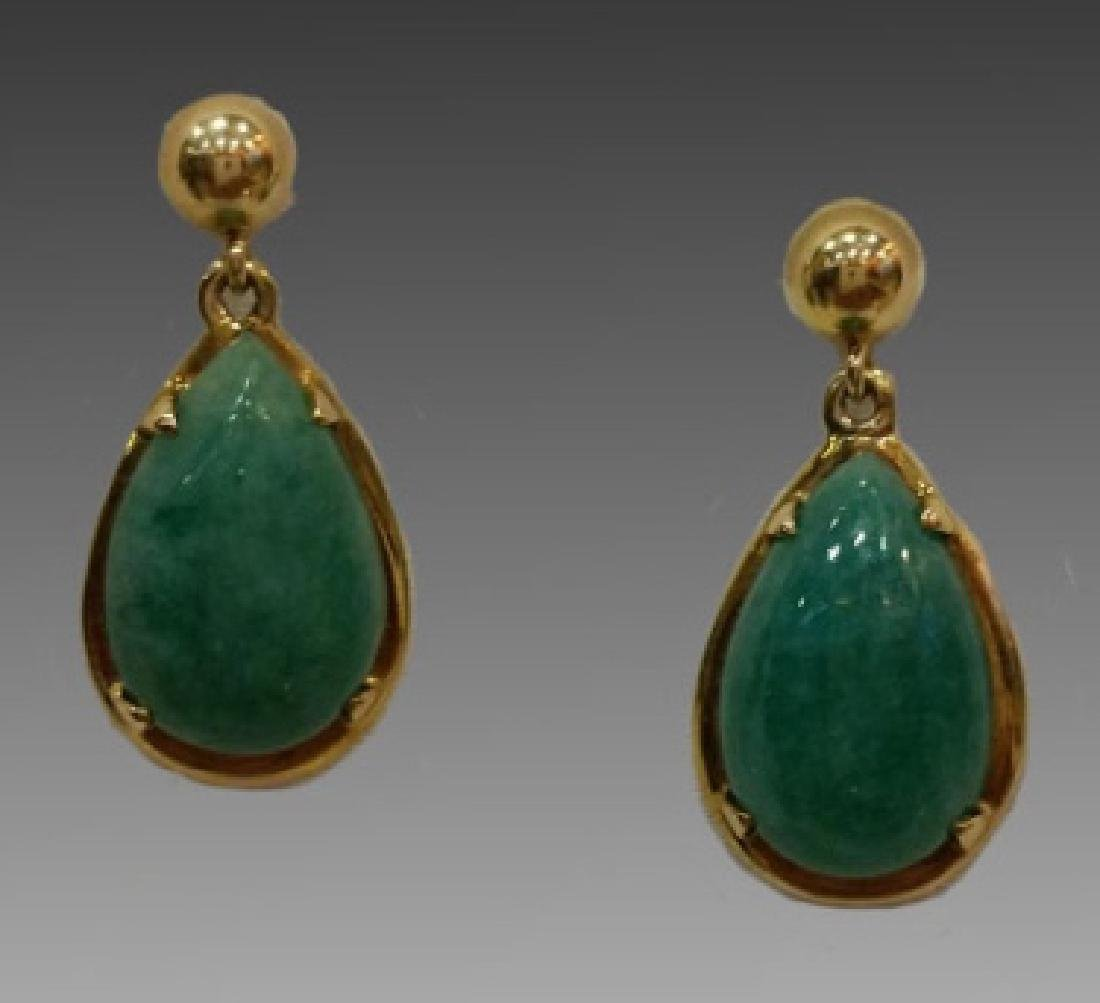 CHINESE GOLD & JADE PENDANT ON CHAIN WITH EARRINGS - 2