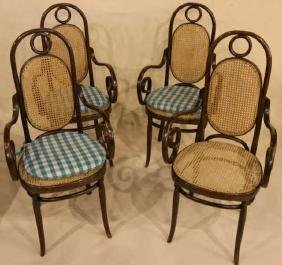BENTWOOD / CANED CUSTOM UPHOLSTERED ARMCHAIR SET