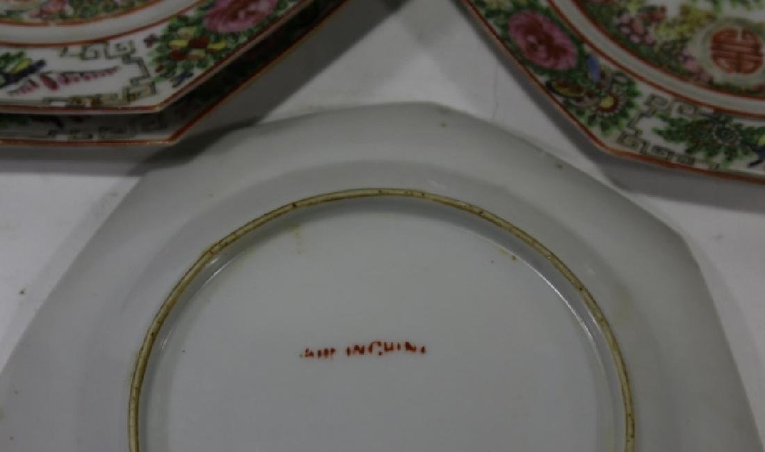 CHINESE ROSE CANTON PORCELAIN PLATES - 6